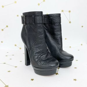 Rachel Zoe • Black Leather Platform Heeled Boots